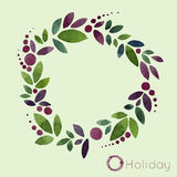 Watercolor sketch floral wreaths, the image of leaves and berries Royalty Free Stock Image