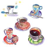 Watercolor sketch of cups for tea and coffee. Watercolor sketch in the free technique of cups and a saucer for tea and coffee Stock Photo