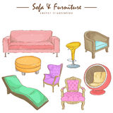 Watercolor sketch of furniture Royalty Free Stock Images