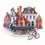 Girl cyclist on Bruges street, Belgium. Watercolor sketch with girl cyclist on street of Old town of Bruges, Belgium