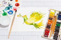 Watercolor Sketch of Green Dove And Paints Stock Photos