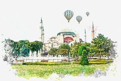 A watercolor sketch or illustration of a beautiful view of the Aya Sofia Cathedral in Istanbul stock image