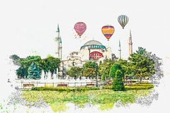 A watercolor sketch or illustration of a beautiful view of the Aya Sofia Cathedral in Istanbul royalty free stock photo