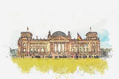 Watercolor sketch or illustration of a beautiful view of the Reichstag in Berlin. royalty free stock photography