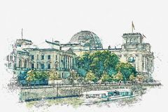 Watercolor sketch or illustration of a beautiful view of the Reichstag in Berlin. royalty free stock images