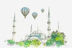 A watercolor sketch or illustration. The famous Blue Mosque in Istanbul is also called Sultanahmet. Turkey stock images