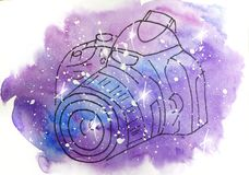 Watercolor sketch illustration, tattoo style: contour of the camera on a background of pink and lilac spots, like space. Watercolor sketch illustration, tattoo vector illustration