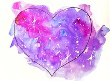 Watercolor sketch illustration, tattoo style: contour of the heart on a background of pink and lilac spots, reminiscent. Of space with white stars, suitable for vector illustration