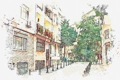 A watercolor sketch or illustration of a traditional street in Istanbul. A watercolor sketch or illustration of a traditional street with apartment buildings in vector illustration