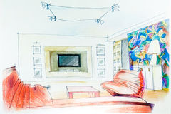 Watercolor sketch of an interior Royalty Free Stock Photo