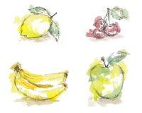 Watercolor sketch of isolated fruits - lemon, cherry, banana, green apple. Royalty Free Stock Photos