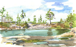 Watercolor sketch. Watercolor landscape of the lake on a cloudy summer day Stock Photos