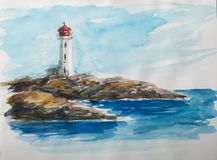 Watercolor sketch with lighthouse. Royalty Free Stock Image