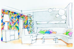 Watercolor sketch of living room Stock Photography