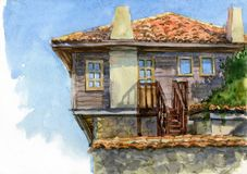 Watercolor illustration of the old town. Houses with tiled roofs. royalty free illustration
