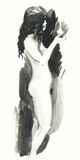 Watercolor sketch of a nude woman Royalty Free Stock Photos
