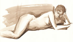 Watercolor sketch of a nude woman 3 Stock Photos