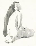 Watercolor sketch of a nude woman 2 Stock Image