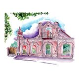 Watercolor sketch old building attic large arched windows vector illustration