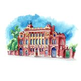 Watercolor sketch old building large arched windows. Watercolor sketch of an old building with decorative elements and large arched windows Stock Image