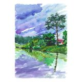Watercolor sketch of an old house by the pond. A watercolor sketch of an old house by the pond. Dark clouds foretell the rain Royalty Free Stock Image
