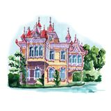 Watercolor sketch old wooden mansion. Watercolor sketch of an old wooden mansion with a huge number of wooden ornaments and elements Stock Image