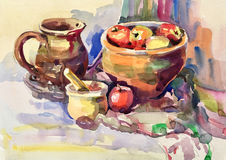 Watercolor sketch painting of still life with vintage tableware stock photos