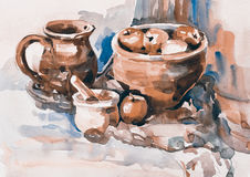 Watercolor sketch painting of still life with vintage tableware Royalty Free Stock Photos