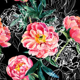 Watercolor and sketch peonies seamless pattern stock illustration