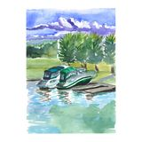 Watercolor sketch of pleasure boats. On the river Royalty Free Stock Images