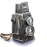 Watercolor sketch of retro camera, isolated. Royalty Free Stock Photos