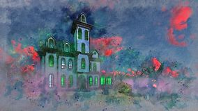 Haunted mansion at eerie sunset watercolor sketch vector illustration