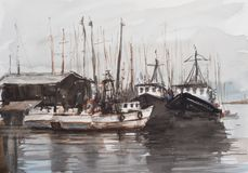 Watercolor sketch of small harbour. Royalty Free Stock Photography