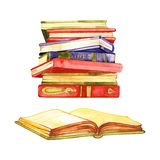 Watercolor sketch of stack of books isolated on white background.