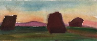 Watercolor sketch of the steppe at sunset with ancient stone statues stock image