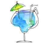 Watercolor and sketch summer cocktail Royalty Free Stock Photography