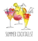 Watercolor and sketch summer cocktail Royalty Free Stock Photos