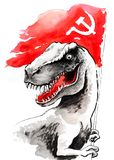T Rex with a Soviet flag Stock Images