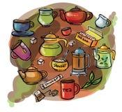 Watercolor sketch tea set Stock Photography