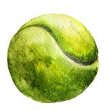 Watercolor sketch of tennis ball on white background. Stock Photography