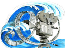 Watercolor sketch of video camera with ocean wave Royalty Free Stock Photo