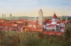 Watercolor sketch of Vilnius old city. Stock Images