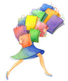The watercolor sketch of woman with a lot of shopping bags  on white background Stock Photo