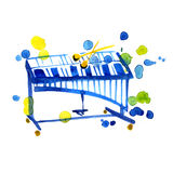 Watercolor sketch of xylophone on white Stock Photos
