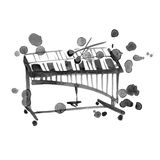 Watercolor sketch of xylophone on white Royalty Free Stock Image