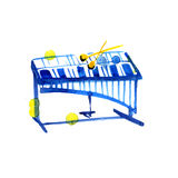 Watercolor sketch of xylophone on white Stock Images