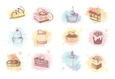Watercolor sketches of cupcakes, berry pie and cake. Sketches of scrumptious cupcakes, berry pie and chocolate tiered cake, decorated by butter cream, fresh Royalty Free Stock Photo
