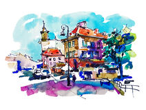 Watercolor sketching old town historical buildings Warsaw vector illustration