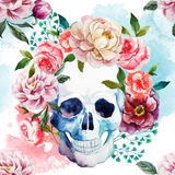 Watercolor skull Stock Photography