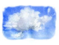 Watercolor sky with cloud. Hand painted nature illustration. For design, print or background Royalty Free Stock Photos